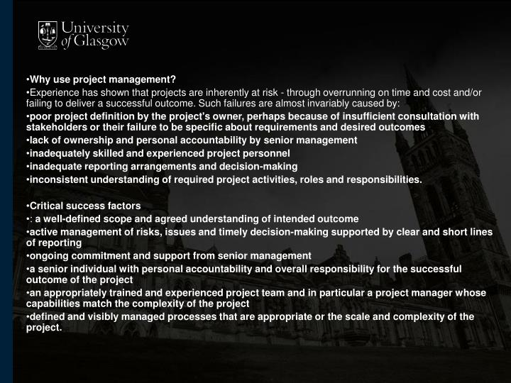 Why use project management?