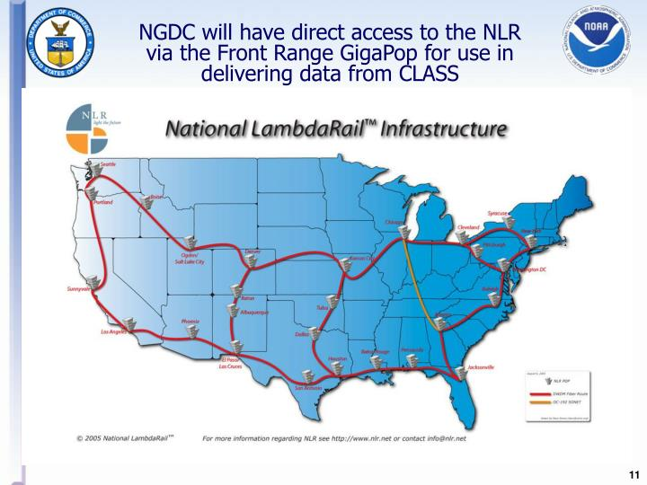 NGDC will have direct access to the NLR via the Front Range GigaPop for use in delivering data from CLASS
