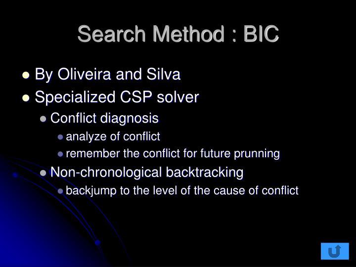 Search Method : BIC