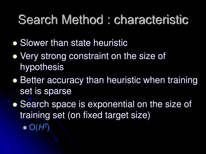 Search Method : characteristic