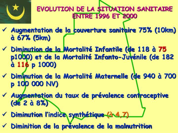 EVOLUTION DE LA SITUATION SANITAIRE ENTRE 1996 ET 2000
