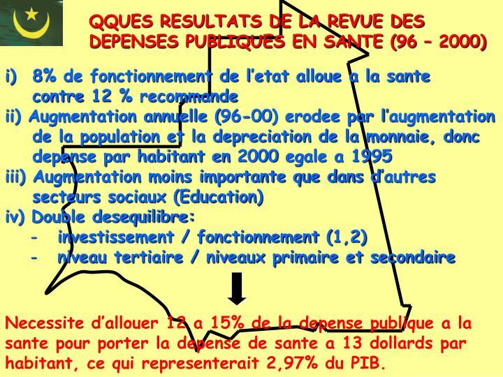 QQUES RESULTATS DE LA REVUE DES DEPENSES PUBLIQUES EN SANTE (96 – 2000)