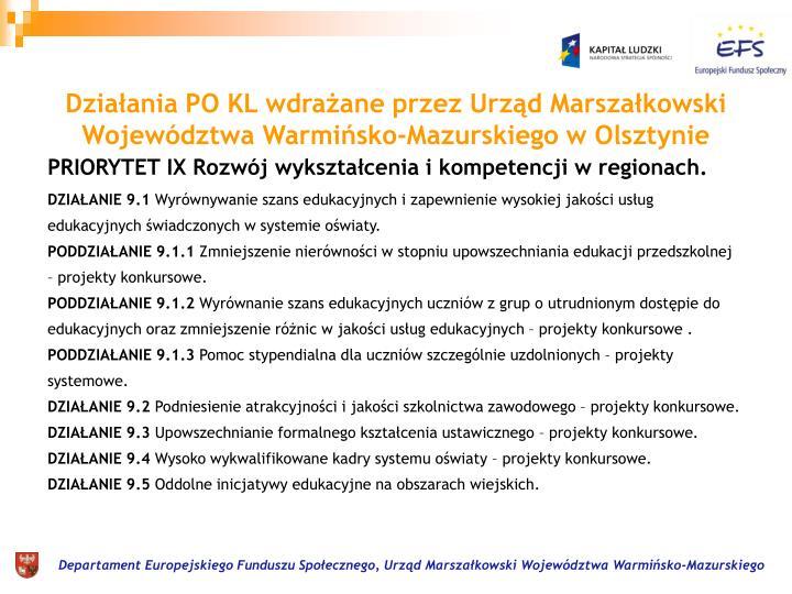 Działania PO KL wdrażane przez Urząd Marszałkowski Województwa Warmińsko-Mazurskiego w Olsztynie
