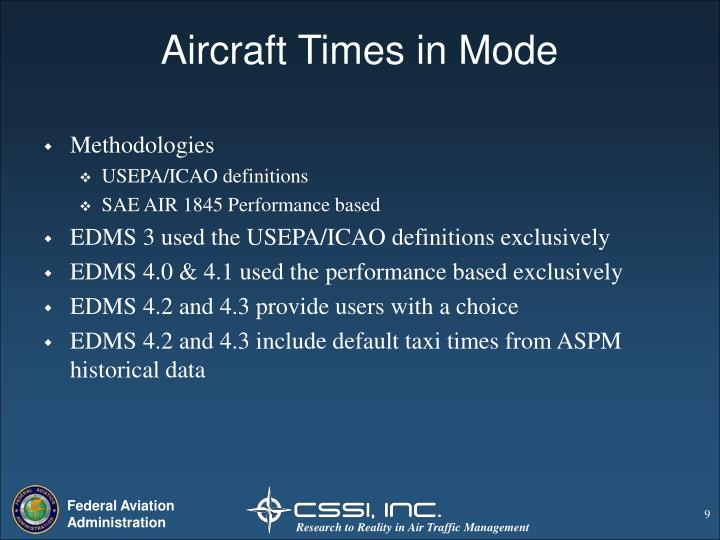Aircraft Times in Mode