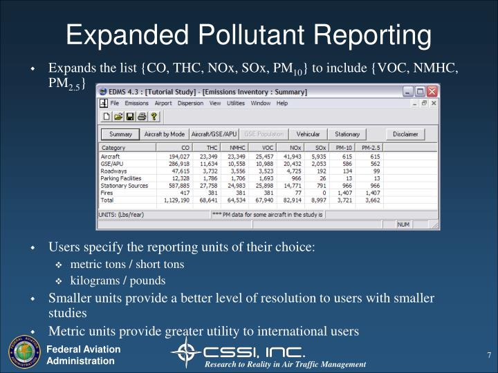 Expanded Pollutant Reporting