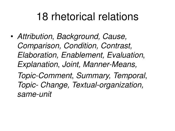 18 rhetorical relations