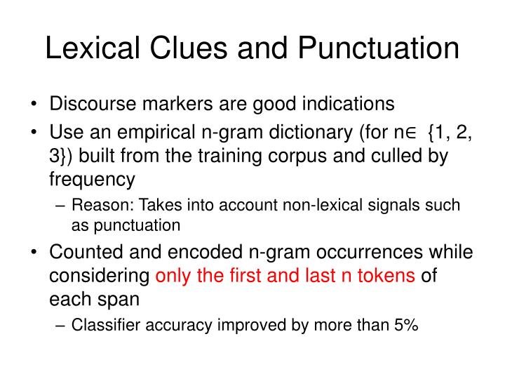 Lexical Clues and Punctuation