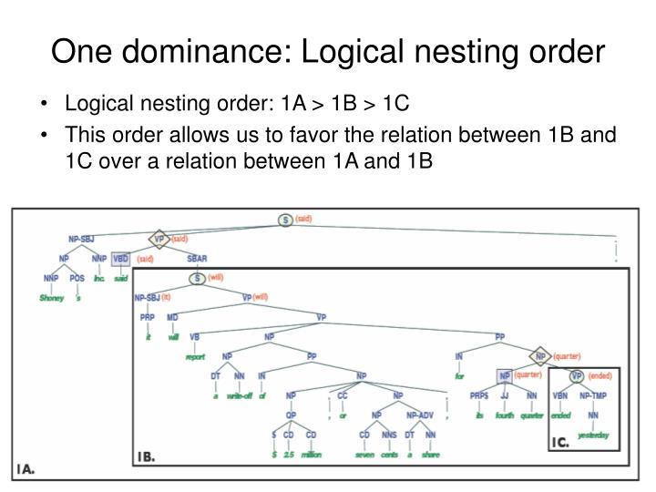 One dominance: Logical nesting order