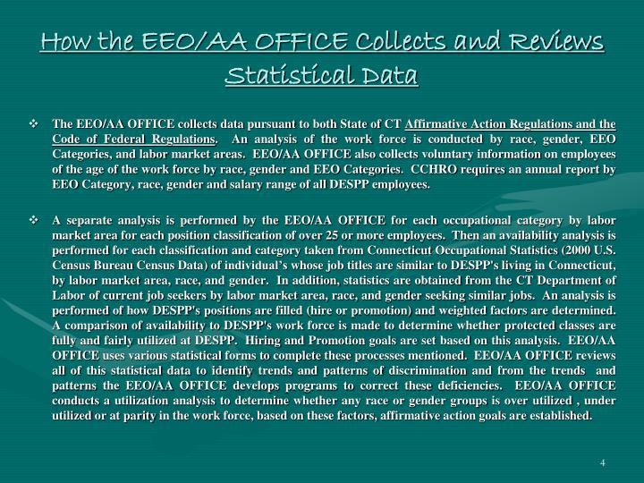 How the EEO/AA OFFICE Collects and Reviews Statistical Data