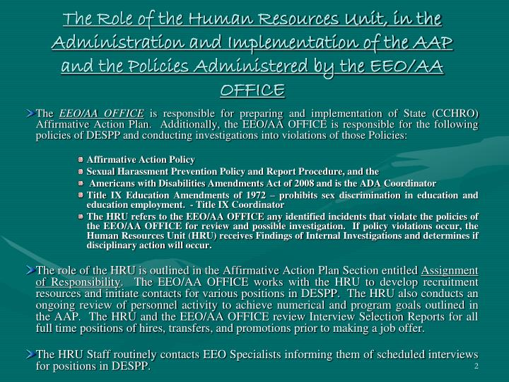 The Role of the Human Resources Unit, in the Administration and Implementation of the AAP and the Po...