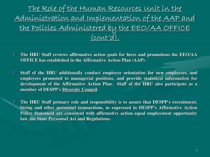 The Role of the Human Resources Unit in the Administration and Implementation of the AAP and the Pol...