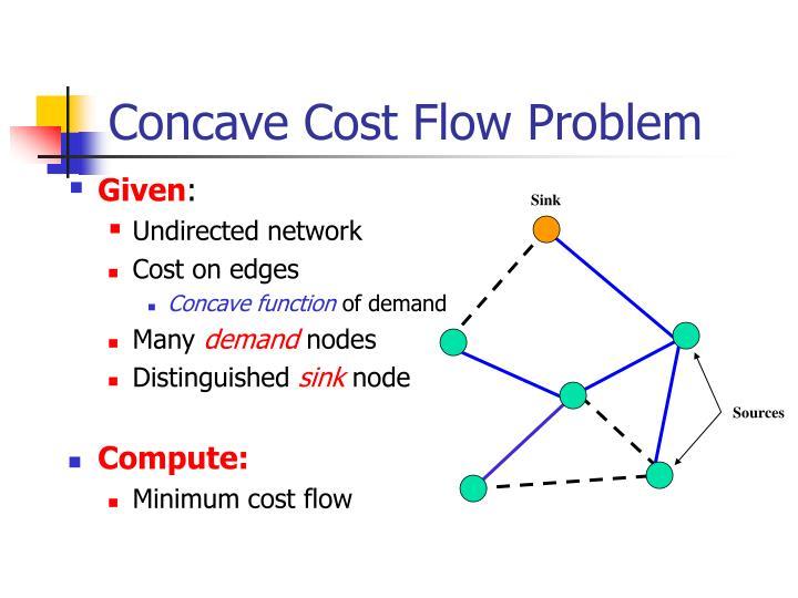 Concave Cost Flow Problem
