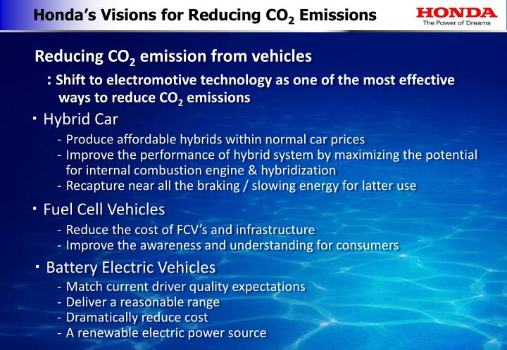 Honda's Visions for Reducing CO