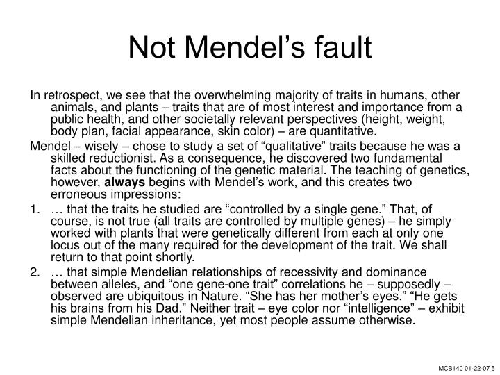 Not Mendel's fault