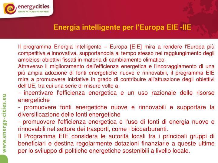Energia intelligente per l'Europa EIE -IIE
