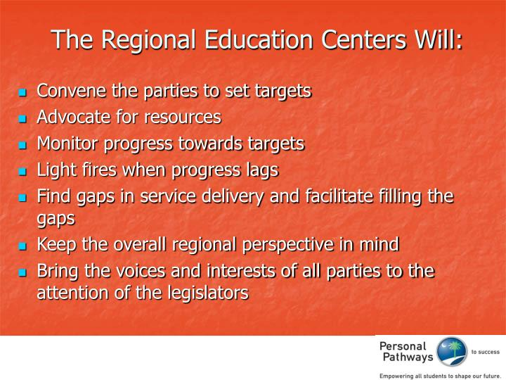 The Regional Education Centers Will: