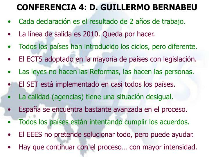CONFERENCIA 4: D. GUILLERMO BERNABEU