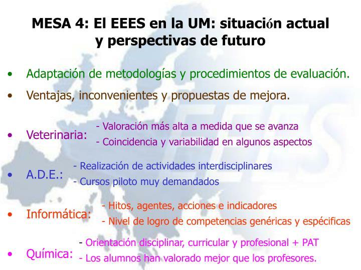 MESA 4: El EEES en la UM: situaci