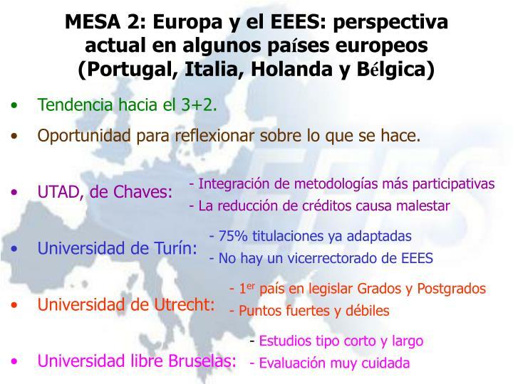 MESA 2: Europa y el EEES: perspectiva actual en algunos pa