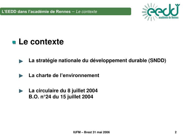La stratégie nationale du développement durable (SNDD)