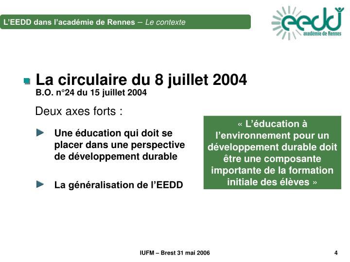 Une éducation qui doit se placer dans une perspective de développement durable