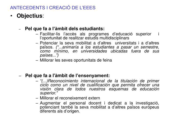 ANTECEDENTS I CREACIÓ DE L'EEES