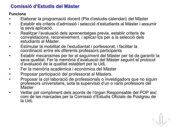 Comissió d'Estudis del Màster
