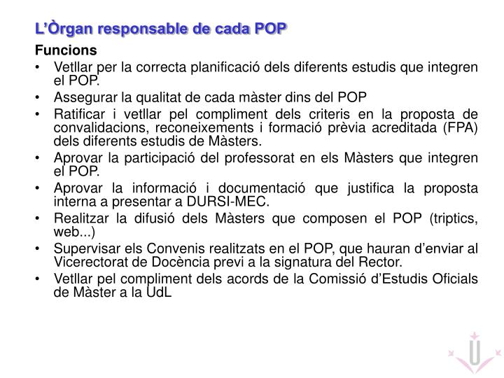 L'Òrgan responsable de cada POP