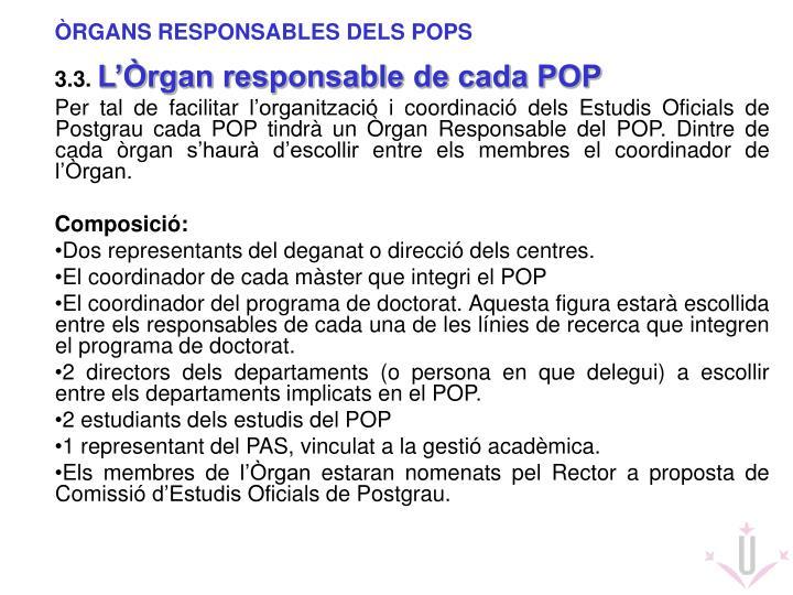 ÒRGANS RESPONSABLES DELS POPS