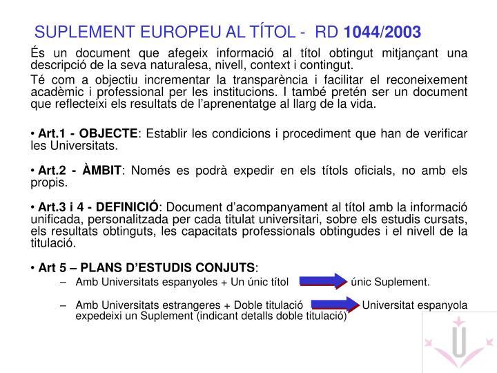 SUPLEMENT EUROPEU AL TÍTOL -  RD