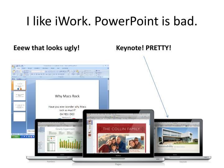 I like iWork. PowerPoint is bad.