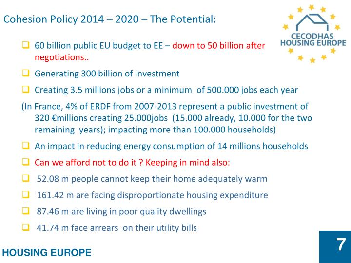 Cohesion Policy 2014 – 2020 – The Potential: