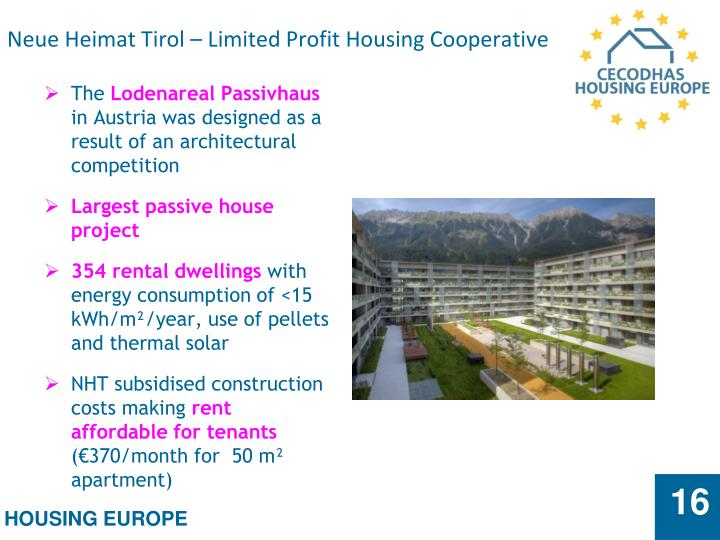 Neue Heimat Tirol – Limited Profit Housing Cooperative