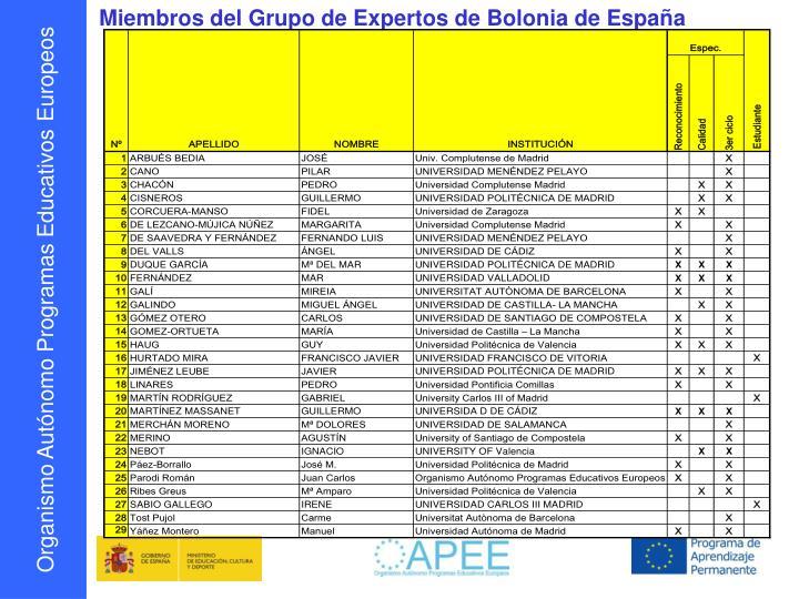 Miembros del Grupo de Expertos de Bolonia de España