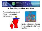 3 teaching and learning level