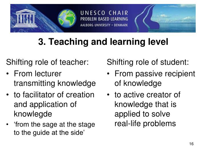3. Teaching and learning level