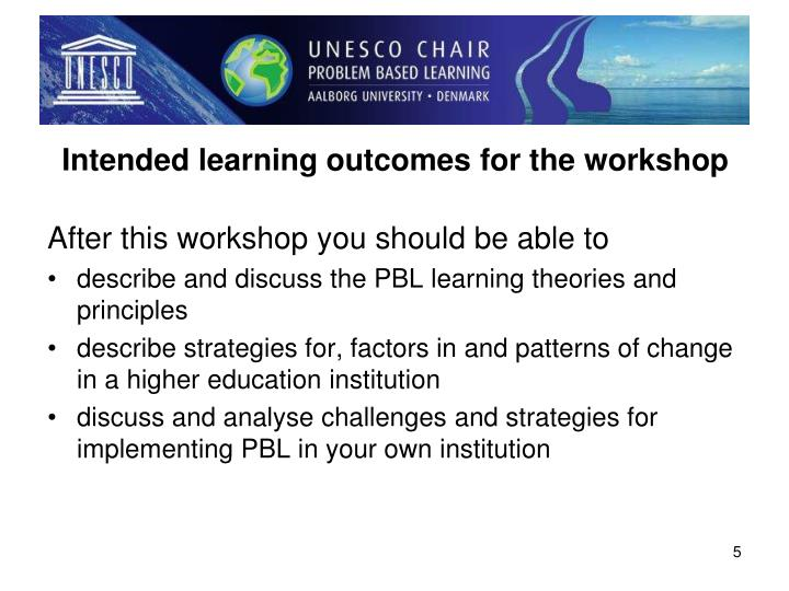Intended learning outcomes for the workshop