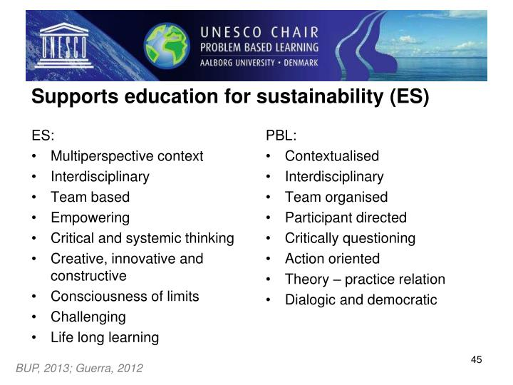 Supports education for sustainability (ES)