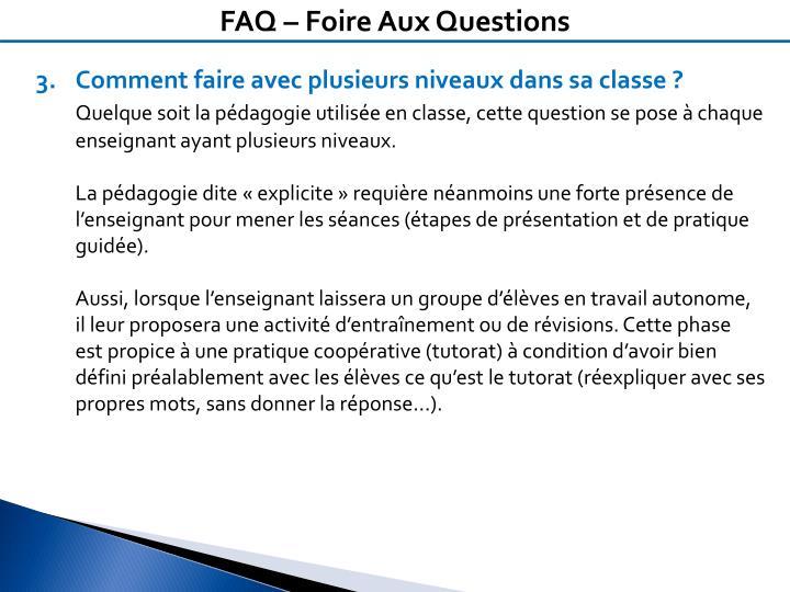 FAQ – Foire Aux Questions