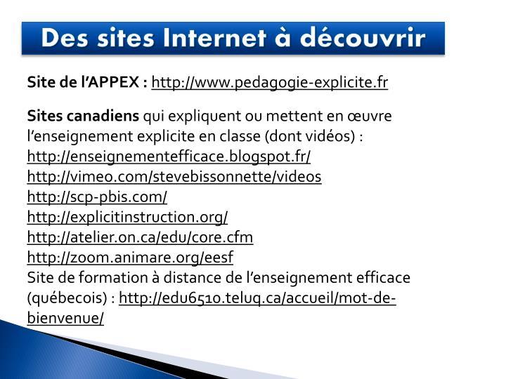 Des sites Internet à découvrir