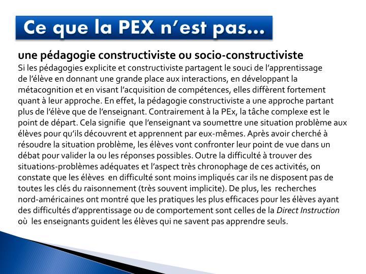 Ce que la PEX n'est pas…
