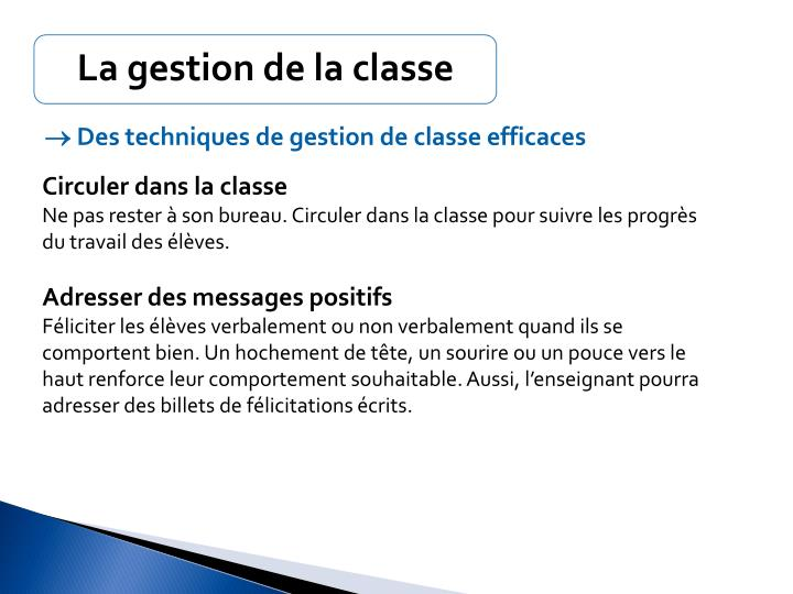 La gestion de la classe