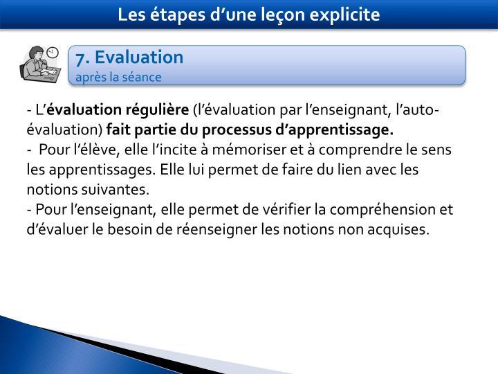 Les étapes d'une leçon explicite