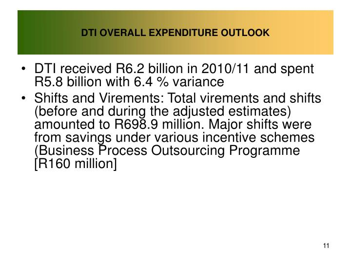 DTI OVERALL EXPENDITURE OUTLOOK