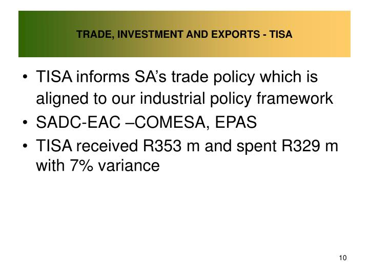 TRADE, INVESTMENT AND EXPORTS - TISA