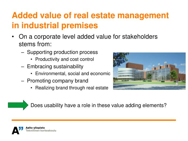 Added value of real estate management in industrial premises