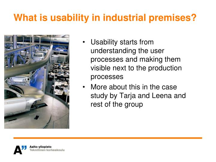 What is usability in industrial premises?