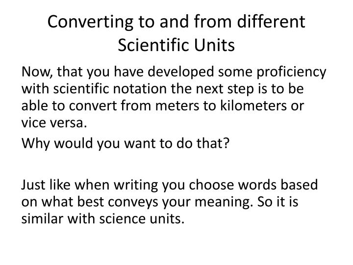 Converting to and from different Scientific Units