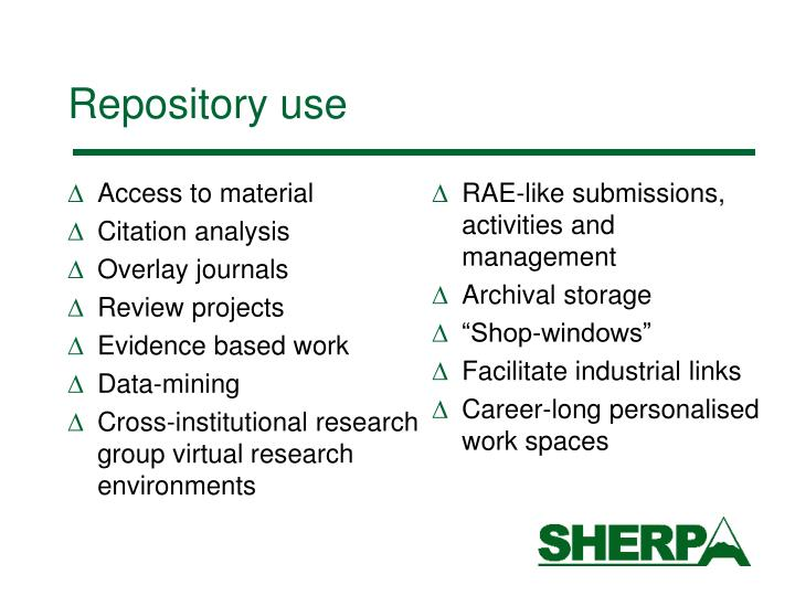 Repository use