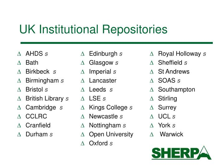 UK Institutional Repositories